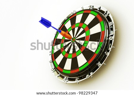 image of 3d render of dart hitting bull's eye on board