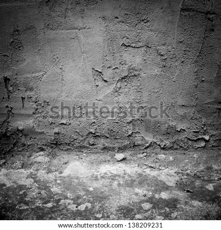 Image of dark industrial concrete wall and floor as background
