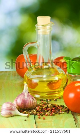 image of different ingredients for cooking on a green background
