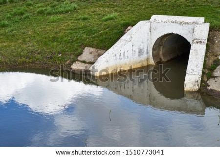 Image of drainage pipe. Sewer drain.
