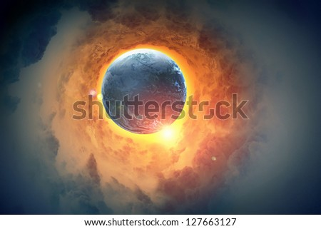 Image of earth planet in space against illustration background