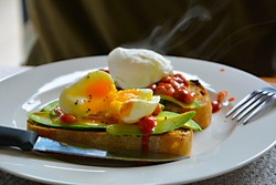 Image of eggs, beans and avocado on toast for breakfast.