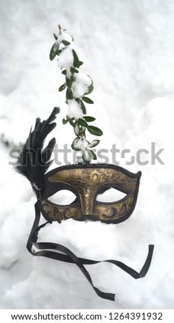 Image of elegant black and gold venetian, mardi gras mask on white snow background.  #1264391932