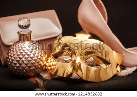 Image of elegant blue and gold venetian #1214832682