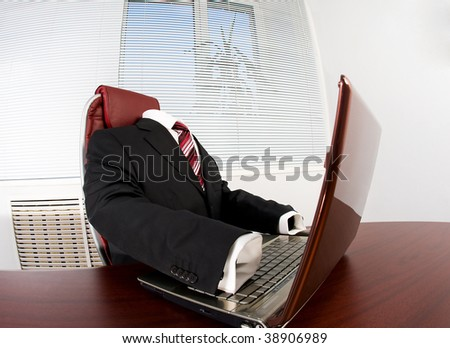 Image of elegant suit without someone in it at workplace
