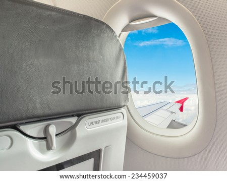 image of  fasten seat belt while seated sign on airplane.