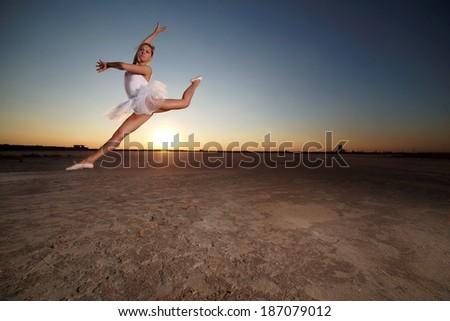Image of female ballet dancer against sunset background .Fashion photo.