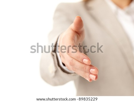 Image of female giving her hand for a handshake