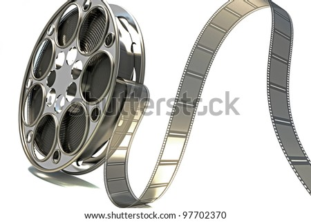 image of film reel rendered in 3d against white background