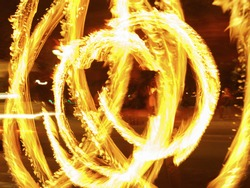 Image of fire show picture. Bright golden rounds. Light vortex. Concept of the beauty in the abstraction.