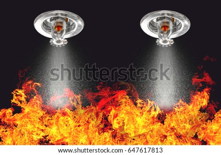 Image of Fire Sprinklers Spraying with fire background. Fire sprinklers are part of an overall safety protocol for fire and life safety. - Shutterstock ID 647617813