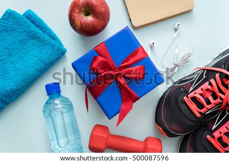 image of fitness accessories and gift box
