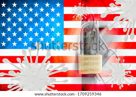 Photo of Image of Flu COVID-19 coronavirus and america flag and Key for lockdown quarantine.Coronavirus Covid-19 outbreak influenza background.Pandemic medical health risk concept.Coronavirus control in USA.