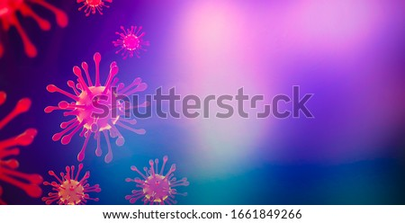 Image of Flu COVID-19 virus cell under the microscope on the blood.Coronavirus Covid-19 influenza banner background.Pandemic medical health crisis disease cell as a 3D render.Social distancing at home Stock photo ©