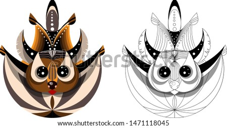 image of flying squirrel in flight. Made with Fibonacci circles