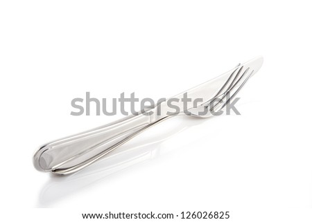 Image of fork and knife isolated on white