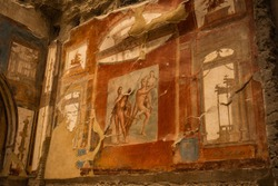 Image of fresco of Hercules, Juno and Minerva in the Augustal Hall in Herculaneum, the ancient Roman city of Ercolano in Campania in Italy.