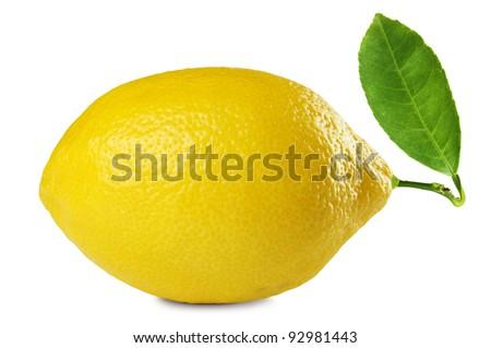 image of fresh lemon with leaf isolated on white background