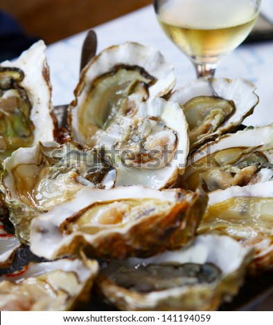 Image of fresh oysters with lemon close up