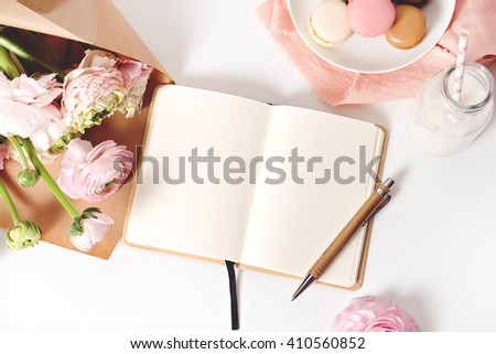 image of fresh spring pink flowers,macaroons  with copy space