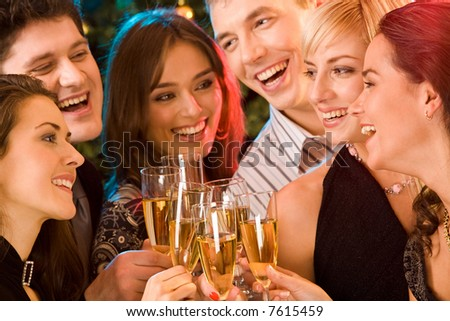 Image of friends having  fun together at a party