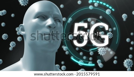 Image of 5G text with circles, world map and scope scanning with 3D coronavirus Covid 19 cells moving and human model. Global coronavirus pandemic concept digitally generated image.