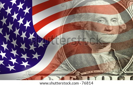 Image of george washington blended with waving American flag