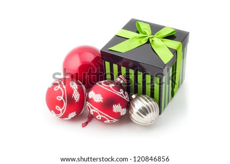 Image of gift box with decoration balls