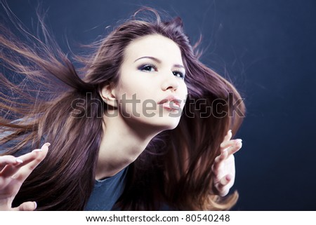 Image of girl with long beautiful hair