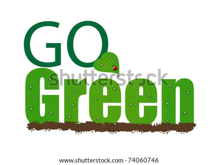 "Image of ""Go Green"" illustration isolated on a white background."