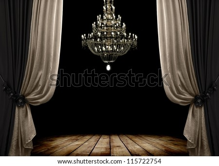 Image of grunge dark room interior with wood floor and chandelier. Background