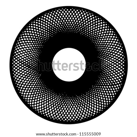 Image of hand drawing and digital circle on white  background with depth illusion