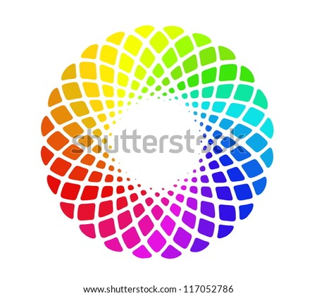 Image of hand drawing and digital colorful circle, rainbow background with depth illusion
