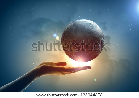 Image of hand holding earth planet against illustration background.Elements of this image are furnished by NASA