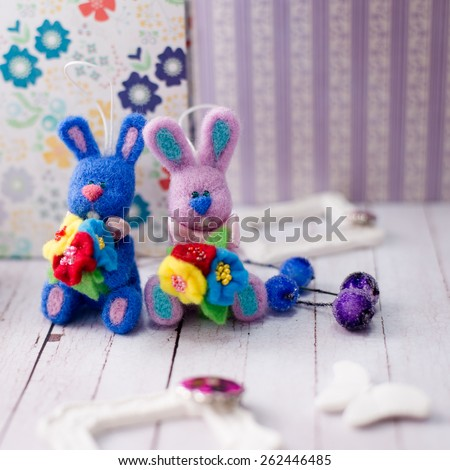 Image of handmade decorations and bunny rabbits