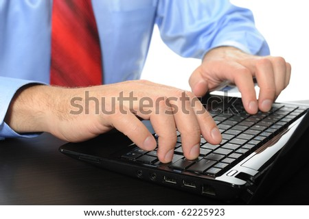 Image of hands businessman on the laptop keyboard. Isolated on white background