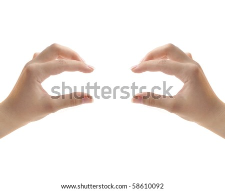 image of hands making frame isolated on white background