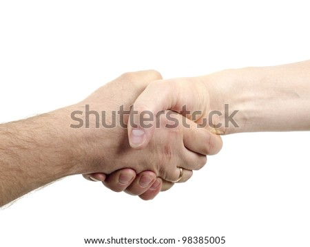 Image of handshake isolated on white