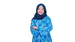 Image of happy asian hijab business woman posing isolated background
