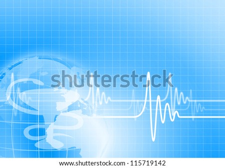 Image of heart beat against colour background