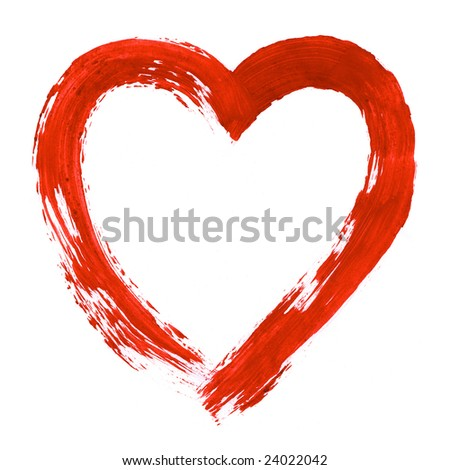 Image of heart painted on white sheet of paper
