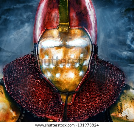 Image of honorable knight who is looking like iron man