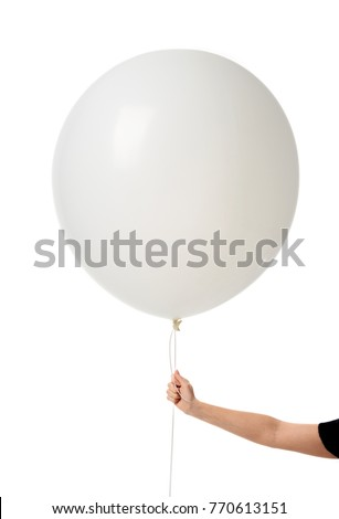 Image of huge 36 or 48 Inch Giant Latex Balloon with woman hand hold it for the string isolated on white background