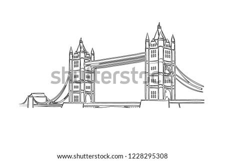 Image of illustration of london bridge in england on white background.