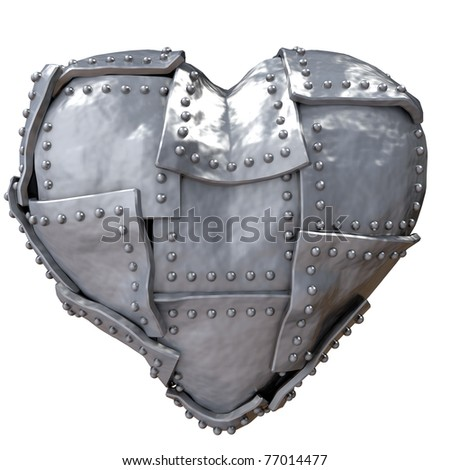 Image of iron heart on white background