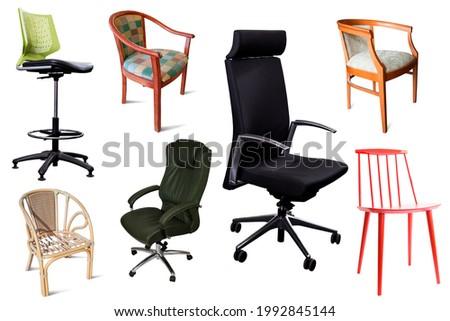 Image of isolated design armchairs on white background