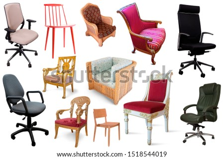 Image of isolated different set of armchairs on white  background