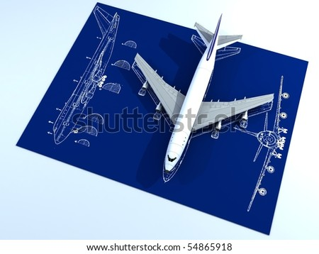 Plane Blueprint on Photo   Image Of Isolated Passenger Airplane And Engineering Blueprint