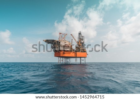 Image of Jack Up Drilling Rig. A mobile offshore drilling unit.