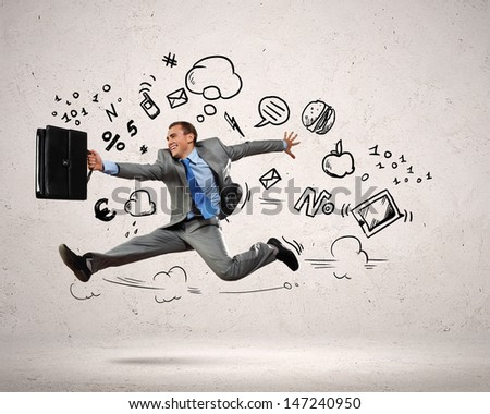 Photo of Image of jumping young businessman. Business collage